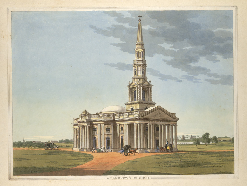 'St Andrew's Church, Egmore, Madras'.  Drawn and engraved by J.W. Gantz, Vepery, 1841.
